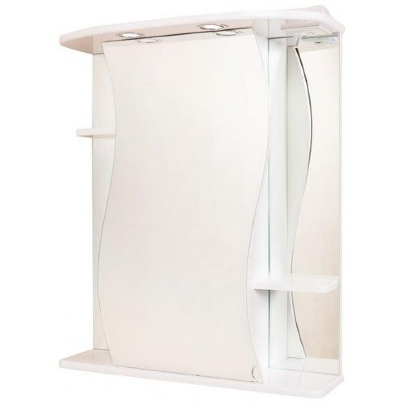 Лилия 65.02 Белый, левыйМебель для ванной<br>Зеркальный шкаф Onika Лилия 65.02 с подсветкой, фурнитура металл хром, блок розетка-выключатель, трансформатор, 2 светильника.<br>