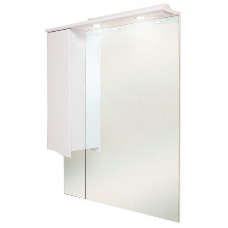 Моника 75.02 Белый, левыйМебель для ванной<br>Зеркальный шкаф Onika Моника 75.02 с подсветкой, комплектация: фурнитура металл хром, блок розетка-выключатель, трансформатор,  2 светильника.<br>