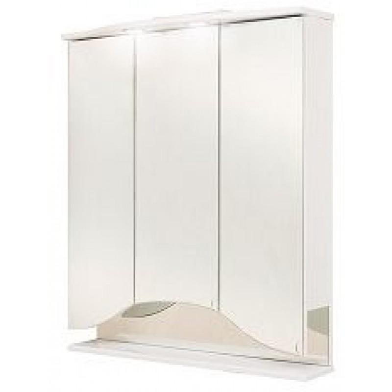 Лидия 75.02 БелыйМебель для ванной<br>Зеркальный шкаф OnIka Лидия 75.02 с подсветкой, комплектация: фурнитура металл хром, блок розетка-выключатель, трансформатор, 2 светильника.<br>