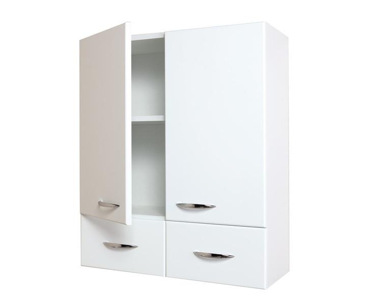 Кредо 60.2 БелыйМебель для ванной<br>Шкаф подвесной двухдверный Onika Кредо 60.2, комплектация: фурнитура металл хром, 2 ящика.<br>