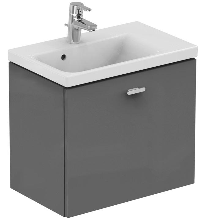 Connect Space 60 C6743KR СераяМебель для ванной<br>Тумба под раковину Ideal Standart Connect Space C6743KR подвесная, с двумя ящиками, полкой,крепится к стене.<br>