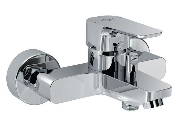 Ceraplan 3 B0718AA ХромСмесители<br>Смеситель для ванны  Ideal Standart Ceraplan 3 B0718AA. В комплектацию входит: катридж 40 мм с функциями HWTC и CLICK, металлические накладки, аэратор CASCADE M24 x1. Длина излива 169 мм.<br>