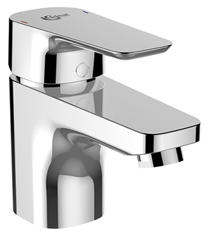 Ceraplan 3 B0700AA ХромСмесители<br>Смеситель для раковины Ideal Standart Ceraplan 3 B0700AA с донным клапаном, металлической рукояткой с индикатором горячей/холодной воды, картриджем 40 мм HWTC и Click. Гибкая подводка G 3/8.<br>