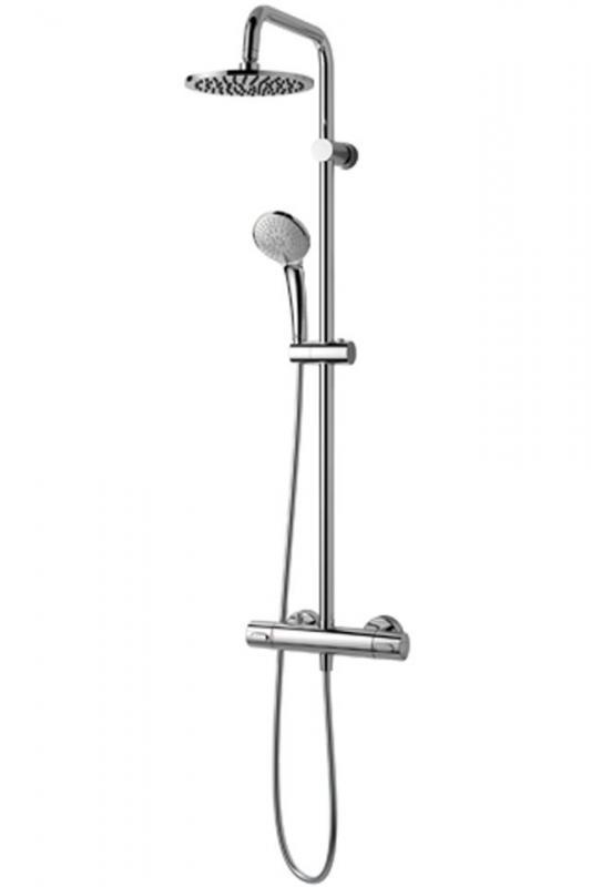Ideal Rain Duo A5686AA ХромДушевые системы<br>Душевая система с термостатом Ideal Rain Duo A5686AA. В комплектацию входит: металлический верхний тропический душ D=200 мм, ручной душ с трехфункциональной душевой лейкой D=100мм, гибкий шланг 1,75 м, смеситель для душа Ceratherm 100 с двумя выходами, душевая труба &amp;amp;#216; 25 мм для верхнего душа, термостатический смеситель, пластиковый держатель, металлические крепления.<br>