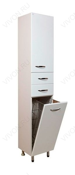 Модерн 26.17 Белый, правыйМебель для ванной<br>402604 напольный пенал Onika Модерн 26.17 с двумя выдвижными ящиками, одной распашной и одной откидной дверцами. В нижней секции — бельевая корзина.<br>