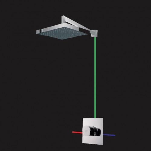 Carlo KT1901 ХромДушевые системы<br>Душевая система Marti 1921 Carlo KT1901. Комплектация: встроенный смеситель, верхний душ 20 см, встроенная внешняя часть.<br>