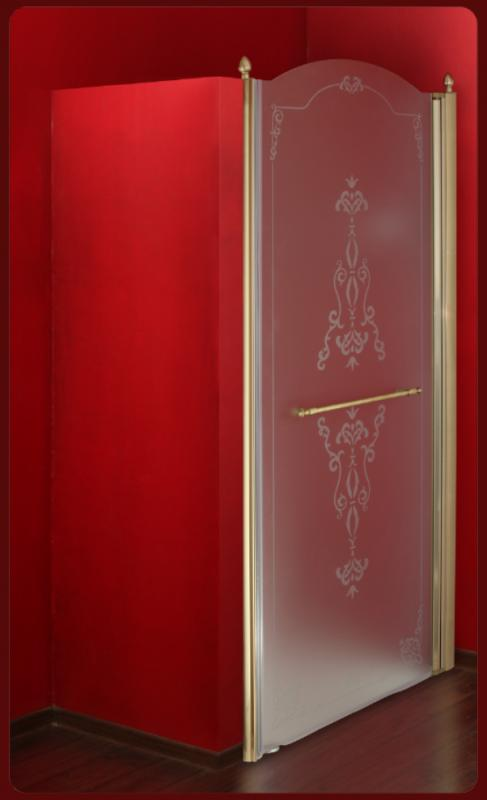 Diadema ML.DDM-22.582.ST DO (золото)Душевые ограждения<br>Душевая дверь Migliore Diadema 80 SX ML.DDM-22.582.ST DO, петли слева.  Стекло матовое с декором, профиль золото.<br>