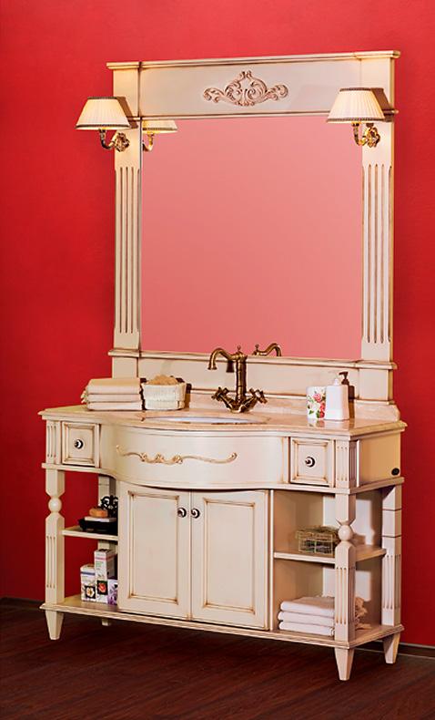 Kantri PS.KNR-BA126 DS (decape sabbia)Мебель для ванной<br>Тумба под раковину Migliore Kantri  PS.KNR-BA126 DS, с ящиками, с полками, с дверками. Зеркало, раковина и столешница приобретаются отдельно. Цвет decape sabbia (крем).<br>