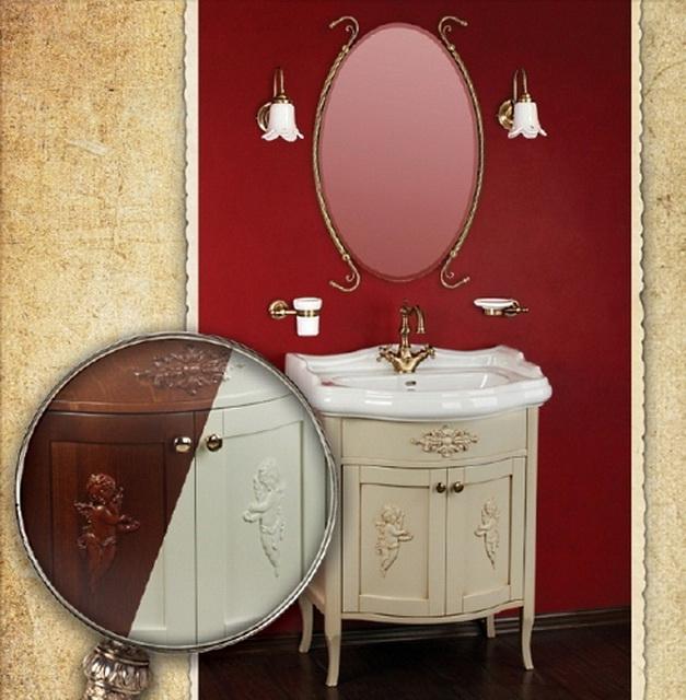 Bella ML.BLL-BA446.DF  DS (decape sabbia)Мебель для ванной<br>Тумба под раковину  Migliore Bella ML.BLL-BA446.DF DS с декором Ангел + декор. элемент. Ручки хром/бронза/золото.  Цвет decape sabbia (крем).<br>