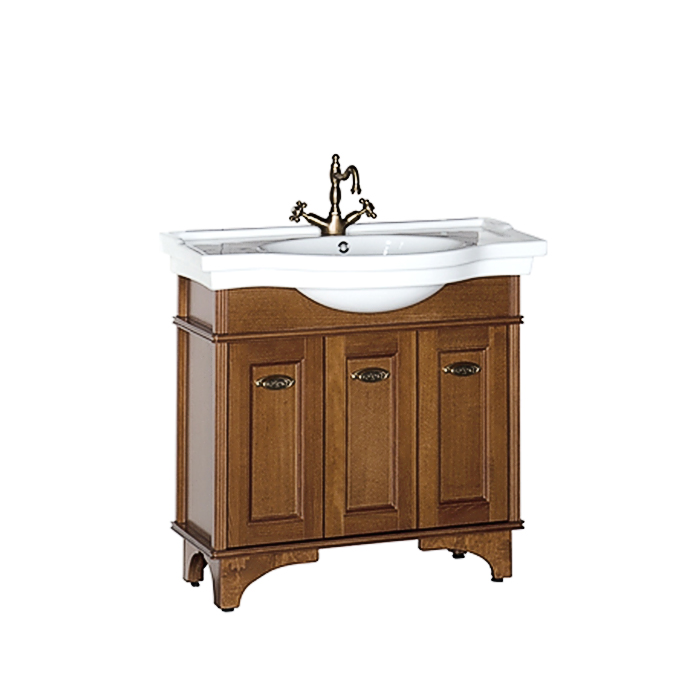 Николь 90 ОрехМебель для ванной<br>Тумба под раковину Aquanet Николь 90 напольная. Зеркало, раковина и светильники приобретаются дополнительно.<br>