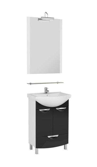Асти 55 Белая/ ЧернаяМебель для ванной<br>Тумба под раковину Aquanet Асти 55. Распашные двери, ящик. Раковина-столешница, Зеркало, светильник приобретаются дополнительно.<br>
