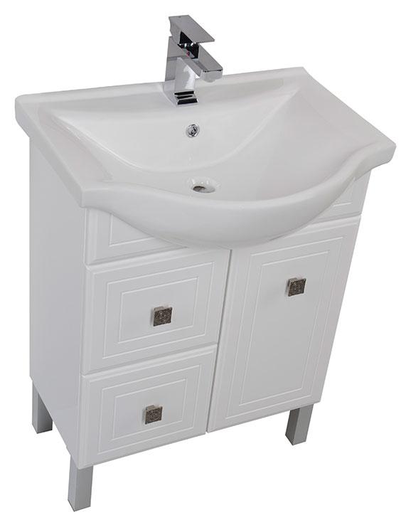 Стайл 75 БелаяМебель для ванной<br>Тумба под раковину Aqunet Стайл 75. Распашная дверца, 2 ящика. Раковина-столешница, зеркало, светильник приобретаются дополнительно.<br>