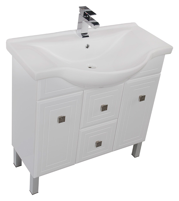 Стайл 85 БелаяМебель для ванной<br>Тумба под раковину Aquanet Стайл 85. Распашные дверцы, 2 ящика. Раковина-столешница, светильник, зеркало приобретаются дополнительно.<br>