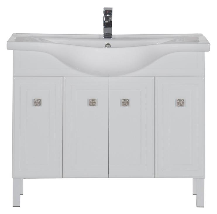 Стайл 105 БелаяМебель для ванной<br>Тумба под раковину Aquanet Стайл 105. Распашные дверцы. Раковина-столешница, зеркало, светильник приобретаются дополнительно.<br>