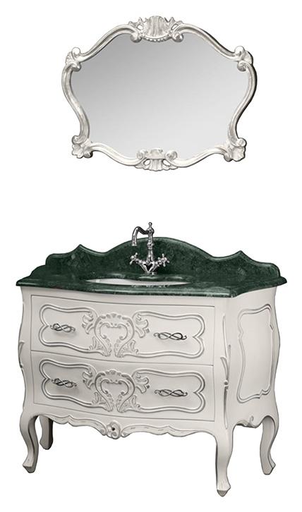 Vittoria  AR (серебро)Мебель для ванной<br>Комплект мебели для ванной Migliore Vittoria. В комплект входит: тумба, мраморная столешница Verde Guatemala (h3/18), раковина. Цвет Bianco с декором Argento (серебро).<br>