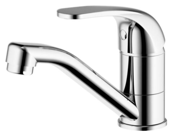 Fit F1233188CP-RUS ХромСмесители<br>Смеситель для кухни или раковины Bravat Fit F1233188CP-RUS, однорычажный.<br>Покрытие: хром.<br> Латунный корпус, цинковая ручка.<br> Поворотный излив.<br> Керамический картридж Sedal 35 мм.<br>Аэратор Neoperl.<br> Расход воды: 8,3 л/мин при давлении 0,3 MPa.<br>Гибкая подводка G1/2, длиной 450 мм.<br>