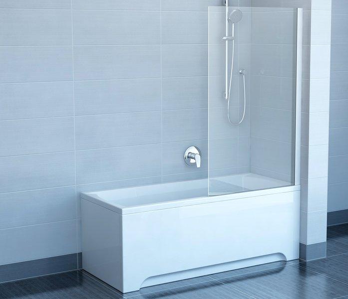 Chrome CVS1-80 R сатин+стекло TransparentДушевые ограждения<br>Шторка на ванну Ravak Chrome CVS1 80 односекционная, поворотная. Поворачивается как наружу так и внутрь. Витраж из безопасного стекла.<br>