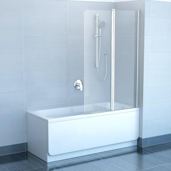 Chrome CVS2-100 R сатин+стекло TransparentДушевые ограждения<br>Шторка на ванну Ravak Chrome CVS2 100 двухсекционная, поворотная. Состоит из одной неподвижной части и одной подвижной, которая поворачивается как наружу так и внутрь. Витраж из безопасного стекла толщиной 6 мм.<br>