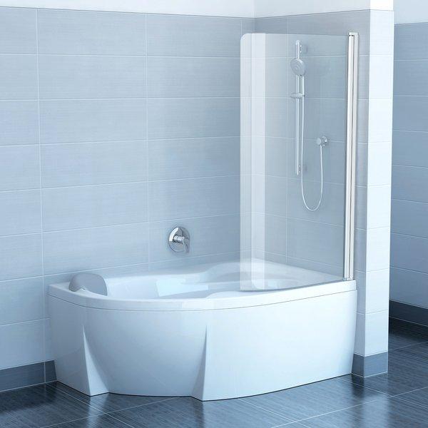 Chrome CVSK1 Rosa 140/150 R сатин+стекло TransparentДушевые ограждения<br>Шторка на ванну Ravak Chrome CVSK1 Rosa 140/150 одноэлементная, поворотная. Поворачивается под углом 180° внутрь или наружу. Витраж из безопасного стекла толщиной 6 мм.<br>