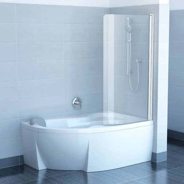 Chrome CVSK1 Rosa 160/170 R белая+транспарентДушевые ограждения<br>Шторка для ванны Ravak Chrome CVSK1 Rosa 160/170 одноэлементная, подвижная правая.  Артикул 7QRS0100Y1. Состоит из одной части, поворачивающейся как к ванне, так и в противоположную сторону к наружной стене. Толщина стекла 6 мм. Профиль белый +стекло Transparent.<br>