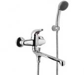 Kevin KE 31 ХромСмесители<br>Смеситель RAF Kevin KE 31 для ванны с изливом 300мм, с аксессуарами. В комплекте: эксцентрики, отражатели, душевая лейка, душевой шланг, настенный держатель<br>