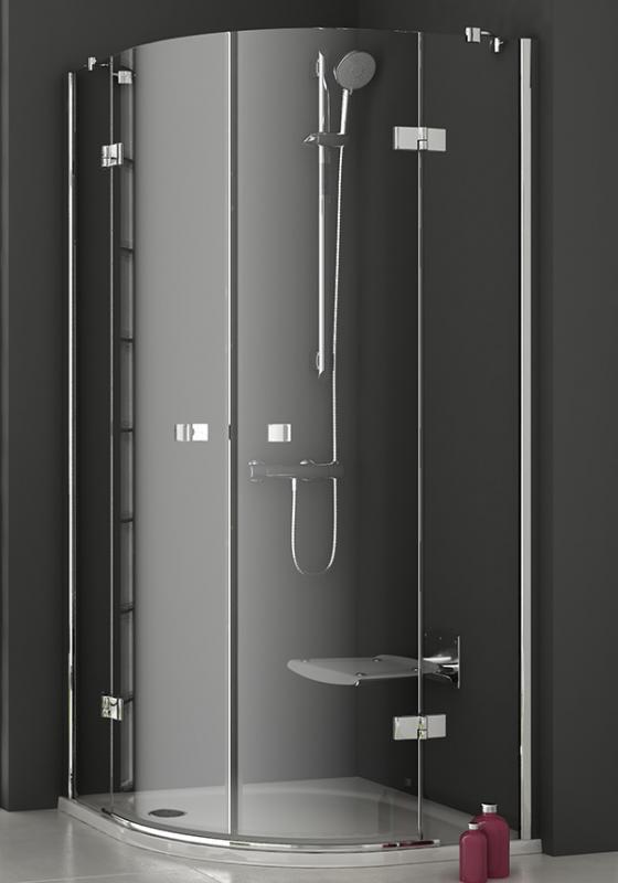 Smartline SMSKK4-80 ХромДушевые ограждения<br>Душевой уголок Ravak Smartline SMSKK4 80 в форме четверти круга, с двумя распашными дверьми. Состоит из четырех частей: двух подвижных изогнутых и двух фиксированных ровных. Регулировка установочной длины/ширины: 785-797 мм. Ширина входа: 761 мм. Витраж из безопасного стекла толщиной 6/8 мм.<br>