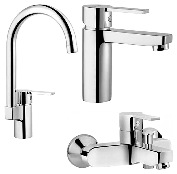 Fuga A49139EXP ХромСмесители<br>Набор смесителей Vitra Fuga A49139EXP. В набор входят: смеситель для раковины, смеситель для кухни, смеситель для ванны.<br>