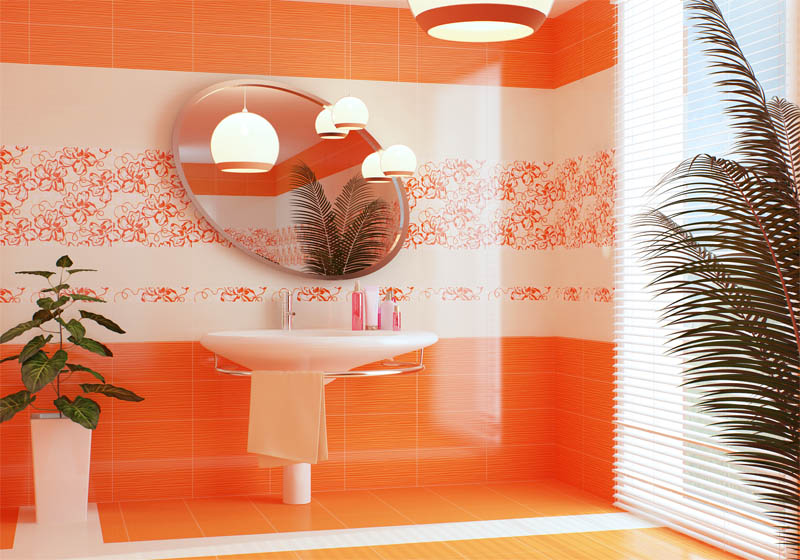 Керамическая плитка Нефрит Керамика Кураж-2 Монро Оранжевый 25х40 декор