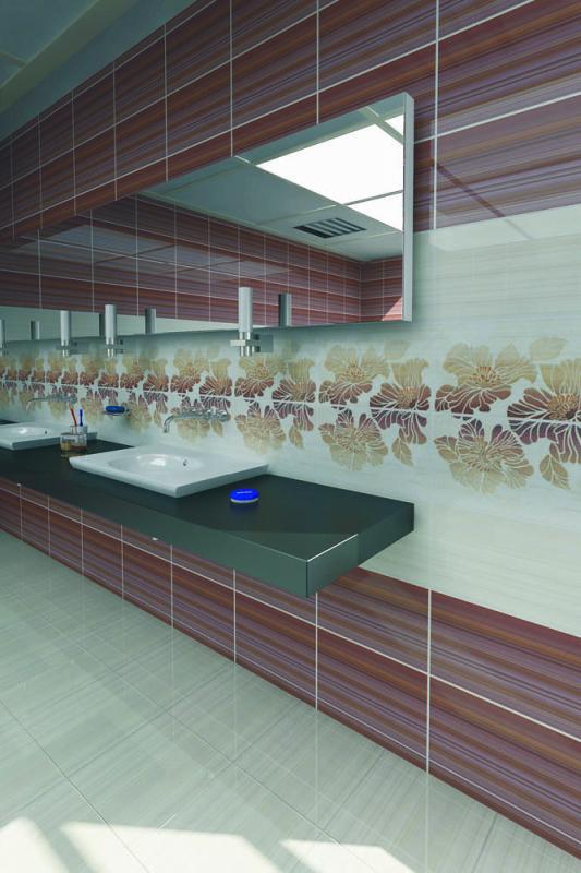 Керамическая плитка Нефрит Керамика Кензо Терракотовый 1 25х40 декор цена