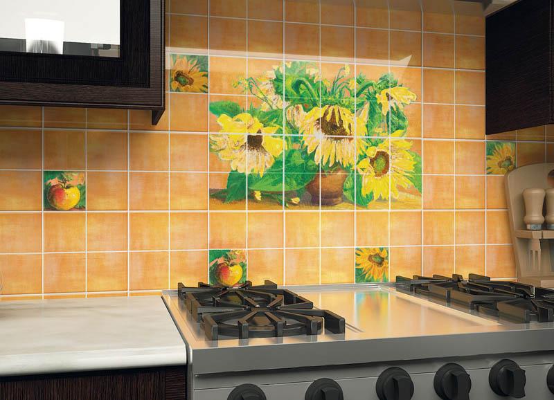Керамическая плитка Нефрит Керамика Акварель Подсолнухи Оранжевый 1 20х20 декор