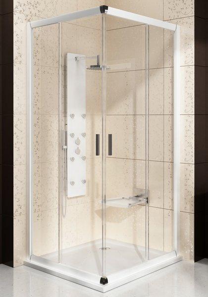 Blix BLRV2К-110 белый+транспарентДушевые ограждения<br>Дверь для душевого уголка Ravak Blix BLRV2К 110 двухсекционная, раздвижная. Состоит из двух элементов: фиксированного и подвижного. Регулирующий профиль BLNPS позволяет расширять изделие на 20 мм. Витраж из безопасного стекла толщиной 6 мм.<br>