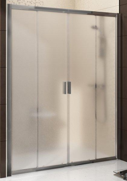 Blix BLDP4-140 блестящая+грейпДушевые ограждения<br>Душевая дверь  Ravak Blix BLDP4-140 четырехэлементная, в современном дизайне. Артикул 0YVM0C00ZG. Возможность установки и комбинирования со смесителями для душа (скрытого, термостатического), душевой штанги с термосмесителем или гидромассажными панелями, мебелью, а так же установить сиденье OVO и приобрести дополнительные аксессуары RAVAK и Chrome. Mонтаж производится на облицованные кафелем стены в нишу (в идеале с неподвижной стенкой BLPS).  В комбинации с двумя неподвижными стенками BLPS образует душевой уголок формы  П.<br>