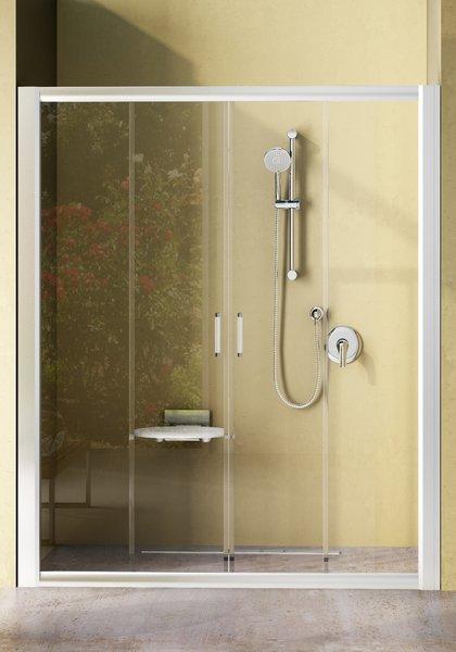 Rapier NRDP4-120 сатин+грейпДушевые ограждения<br>Душевая дверь в нишу Ravak Rapier NRDP4 120 четырхсекционная, раздвижная. Состоит из двух ровных неподвижных частей и двух ровных подвижных частей, образующих двери. Витраж из безопасного стекла толщиной 6 мм.<br>