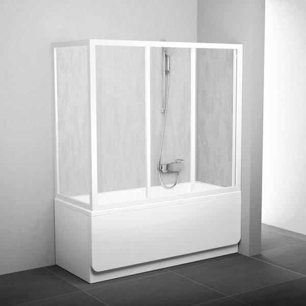 APSV-75 белая+грейпДушевые ограждения<br>Неподвижная боковая стенка для шторки на ванну Ravak APSV 75. Витраж из безопасного стекла толщиной 3 мм.<br>