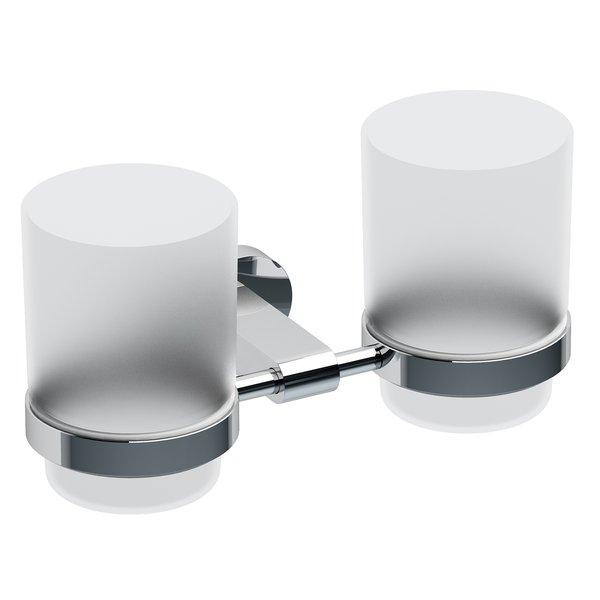Chrome CR 220.00 ХромАксессуары для ванной<br>Двойной держатель с двумя стаканами Ravak Chrome CR 220.00. Для зубных щеток и других гигиенических средств.<br>
