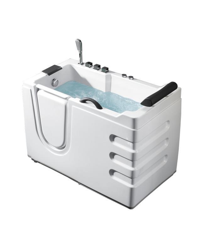 Personas hidro BL-106  R с гидромассажемВанны<br>Акриловая сидячая ванна Bolu Personas hidro BL-106 R на стальном каркасе с регулируемыми  ножками с гидромассажем.  Правый вход в ванну. Гидромассажная система включает в себя 2 форсунки для стоп, 2 форсунки для икроножных мышц, 4 форсунки для тазобедренного сустава и поясницы.   Слив-перелив с гидрозатвором ( Антизапах ) идет в комплекте с гофротрубой. Латунный смеситель Tucai  (Испания)  встроен в ванну. С помощью излива Ниагара  происходит налив воды в ванну. 100% герметичная дверь на петлях закрывается с помощью замка от компании-лидера  Dr.Hahn (Германия). Высота входа в ванну составляет 15 см. Ручка-поручень имеет мягкую оплётку. Переносная лейка на шланге длиной  150 см. Удобный высокий мягкий подголовник.<br>