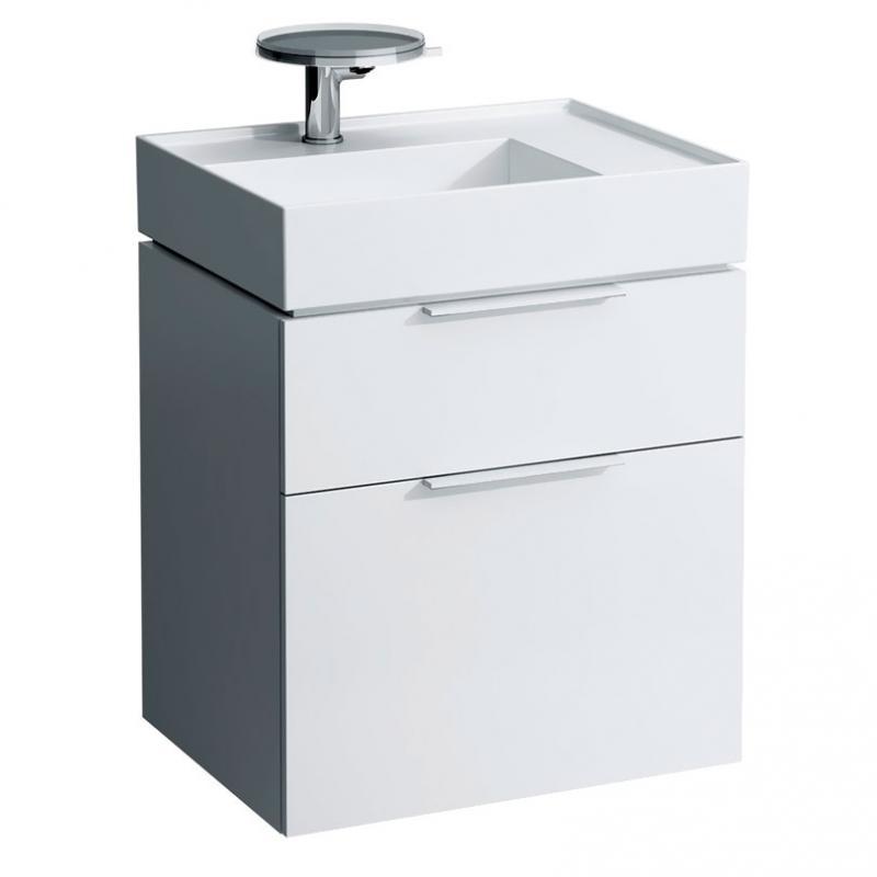 Kartell 4.0755.2.033.631.1 БелаяМебель для ванной<br>Шкафчик Laufen Kartell 4.0755.2.033.631.1. С двумя ящиками. Габариты: 595x455x615 мм. Белый глянец. Хромированная фурнитура. Оснащен механизмом доводчика.<br>