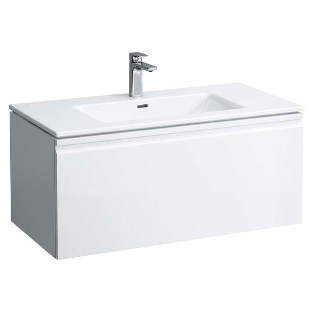 Pro S 8.6096.6.464.104.1 Белая (глянцевая)Мебель для ванной<br>Тумба с раковиной Laufen Pro S 8.6096.6.464.104.1. Подвесная. Глянцевое покрытие корпуса. Материал корпуса: влагостойкая ЛДСП. Материал фасада: МДФ. Материал раковины: фаянс. С ящиками.<br>