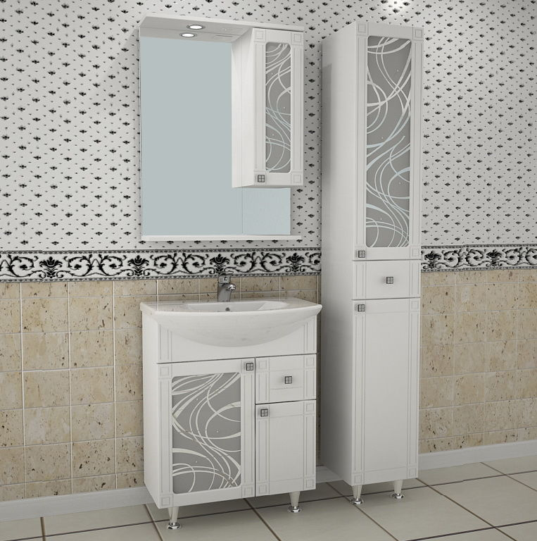 Альфа-Кристалл 65-1Н БелаяМебель для ванной<br>Тумба под раковину напольная АСБ-мебель Альфа-Кристалл 65-1Н. Витражи тумбы украшены кристаллами Swarovski.<br>