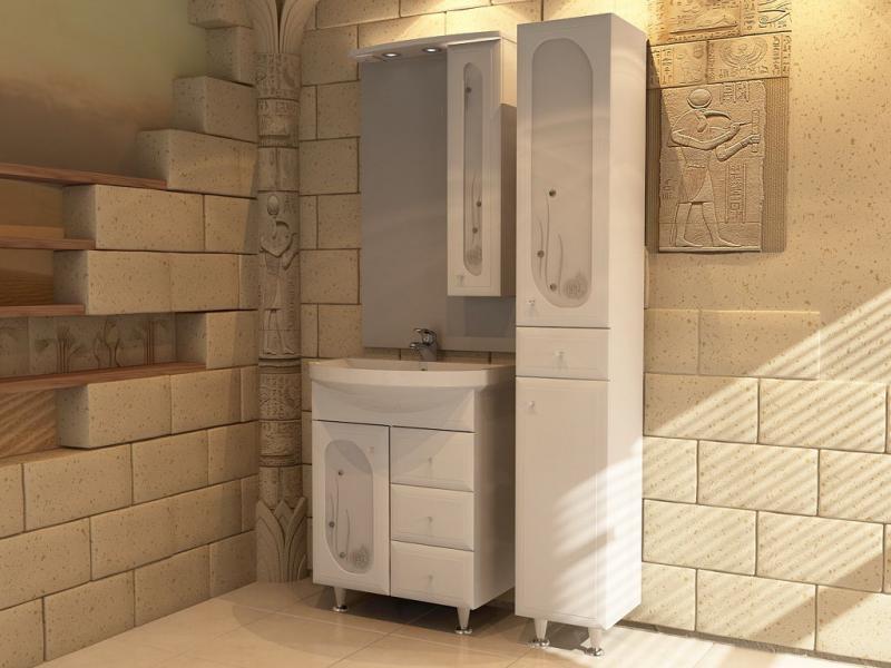 Астра Витраж 62-3H БелаяМебель для ванной<br>Тумба под раковину напольная АСБ-мебель Астра Витраж 62-3Н Ракушка. Тумба с одной дверцей и тремя выдвижными  ящиками. Зеркало Астра-62, колонка Астра-30, раковина Астра-65 Сантек приобретаются отдельно.<br>