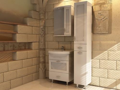 Астра Ариэль 60 БелаяМебель для ванной<br>Тумба под раковину напольная АСБ-мебель Астра Ариэль 60 с двумя выдвижными ящиками. Фасад тумбы отделан витражными стеклами с элементами декора.<br>