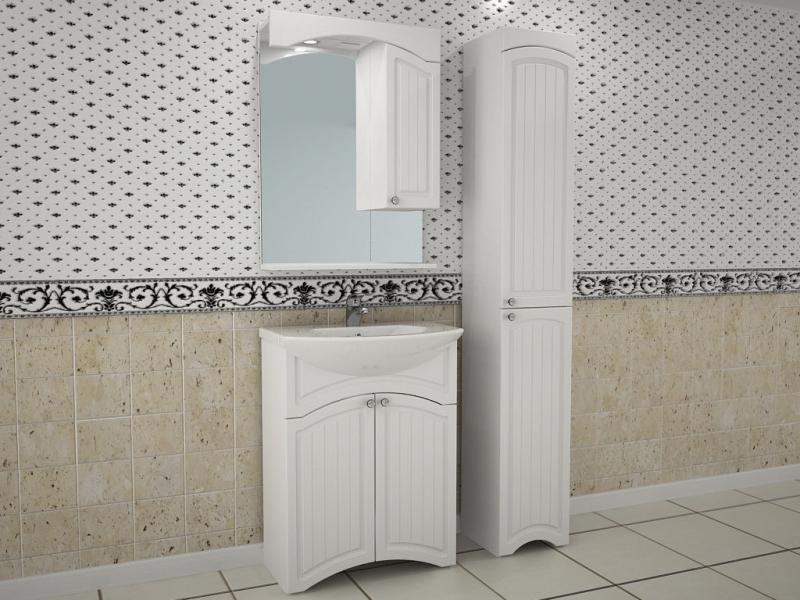 Лилия-Лайн 65 БелаяМебель для ванной<br>Тумба под раковину напольная АСБ-мебель Лилия-Лайн 65 с двумя дверцами и декоративной резьбой на фасаде.<br>