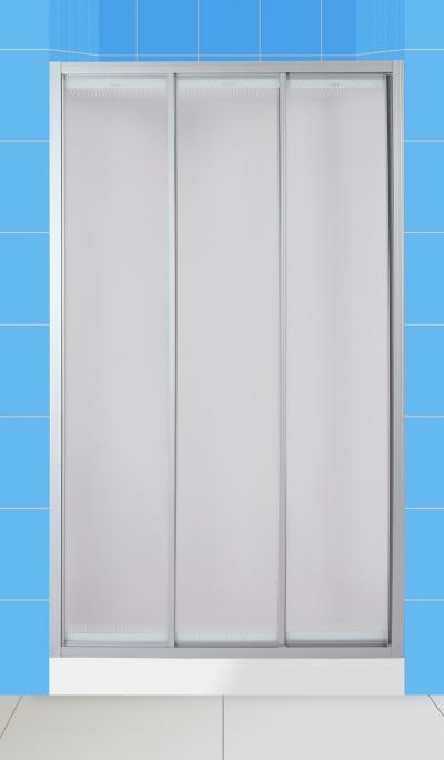 La Manche 90 МТ Матовое стекло/профиль матовый хромДушевые ограждения<br>Дверь для душа 3-х секционная River La Manche 90 МТ раздвижная (открывается влево и вправо). Возможна регулировка ширины + 2 см от размера за счет боковых регулировочных профилей.<br>