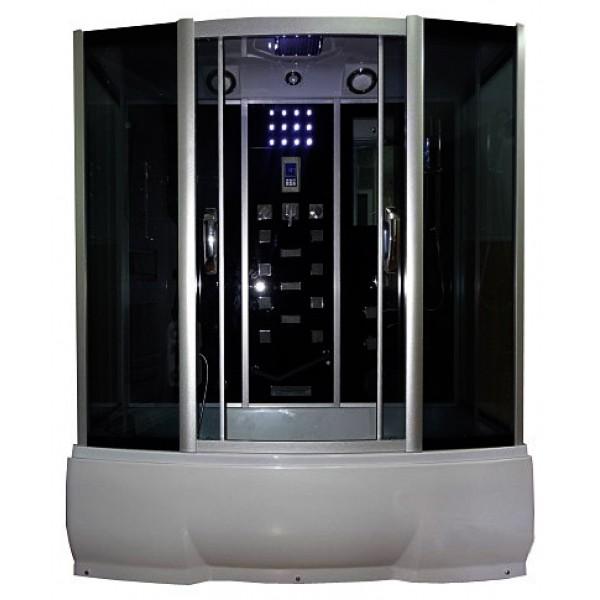 Wisla 150x80 ТН Тонированное стекло/профиль матовый хромДушевые боксы<br>Душевой бокс River Wisla 150х80 ТН. Задняя стенка - черное крашеное стекло. 11 г/м форсунок, 6 г/м форсунок на задней стенке, поясничный массажер, ручной душ 3-х позиционный, смеситель с переключателем режимов, набор воды, слив-перелив, зеркало, полка 2-х ярусная, поддон-ванна, с сидением и съемным экраном высотой 50 см, верхний душ, лунный свет, динамик, вентилятор, пульт управления, радио, телефон, г/м ног съемная штанга.<br>