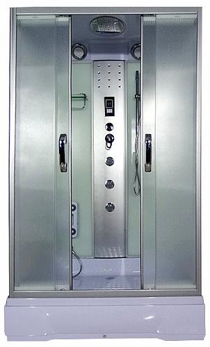 Sena 120x80x26 МТ  Матовое стекло/профиль матовый хромДушевые кабины<br>Душевая кабина River Sena 120x80x26 МТ. Задняя стенка - черное крашеное стекло. 3 г/м форсунки, ручной душ 3-х позиционный, смеситель с переключателем режимов, набор воды, слив-перелив, зеркало, полка, поддон высотой 26 см, верхний душ, лунный свет, динамик, вентилятор, пульт управления, радио, телефон, г/м ног, съемная штанга.<br>