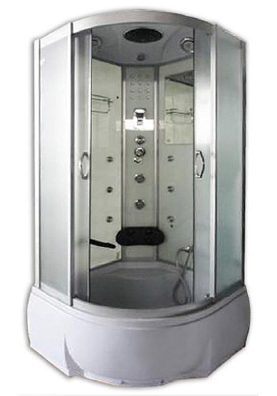 Temza 90х46 МТ     Матовое стекло/профиль матовый хромДушевые кабины<br>Душевая кабина River Temza 90х46 МТ. Задняя стенка - матовое крашеное стекло с рисунком. 8 г/м форсунок, 4 г/м форсунки для поясничника, ручной душ 3-х позиционный, смеситель с переключателем режимов, набор воды, слив-перелив, зеркало, полка, поддон высотой 46 см, верхний душ, лунный свет, динамик, вентилятор, пульт управления, радио, телефон, г/м ног, съемная штанга.<br>