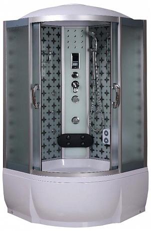 Temza 100х46 МТ Матовое стекло/профиль матовый хромДушевые кабины<br>Душевая кабина River Temza 100х46 МТ. Задняя стенка - матовое крашеное стекло с рисунком. 8 г/м форсунок, 4 г/м форсунки для поясничника, ручной душ 3-х позиционный, смеситель с переключателем режимов, набор воды, слив-перелив, зеркало, полка, поддон высотой 46 см, верхний душ, лунный свет, динамик, вентилятор, пульт управления, радио, телефон, г/м ног, съемная штанга.<br>