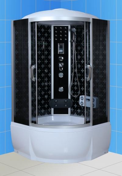 Temza 100х46 ТН Тонированное стекло/профиль матовый хромДушевые кабины<br>Душева кабина River Temza 100х46 ТН. Задн стенка - черное крашеное стекло с рисунком. 8 г/м форсунок, 4 г/м форсунки дл посничника, ручной душ 3-х позиционный, смеситель с переклчателем режимов, набор воды, слив-перелив, зеркало, полка, поддон высотой 46 см, верхний душ, лунный свет, динамик, вентилтор, пульт управлени, радио, телефон, г/м ног, съемна штанга.<br>