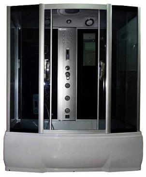 Dunay 150х80 ТН  Тонированное стекло/профиль матовый хромДушевые боксы<br>Душевой бокс River Dunay 150х80 ТН. Задняя стенка - серебристое крашеное стекло. Верхний душ, цент.стойка, верхний свет, динамик, вентилятор, пульт управления, радио, телефон, 3 г/м форсунки,  гидромассаж ног, штанга, ручной душ 3-х режимный, смеситель с переключателем режимов, зеркало, полочка, поддон с высоким сидением высотой 50 см, сифон.<br>