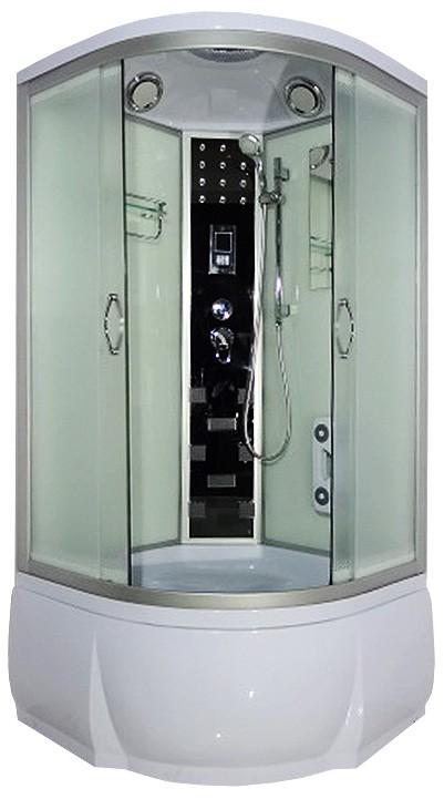 Elba 90x46 МТ  Матовое стекло/профиль матовый хромДушевые кабины<br>Душевая кабина River Dunay 90x46 МТ. Задняя стенка - белое крашеное стекло. Верхний душ, цент.стойка, верхний свет, динамик, вентилятор, сенсорный пульт управления, радио, телефон, 8 г/м форсунок, штанга, ручной душ 3-х режимный, смеситель с переключателем режимов, зеркало, полочка, гидромассаж ног, поддон высотой 46 см, сифон.<br>